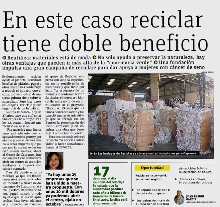 Reciclar tiene doble beneficio reciclar ecuador noticias for Una noticia de espectaculos